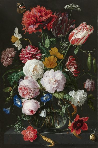 Still Life with Flowers in a Glass Vase, 1650 - 1683 by Jan Davidsz. de Heem. Oil on copper. On loan from the City of Amsterdam (A. van der Hoop Bequest). Rijksmuseum
