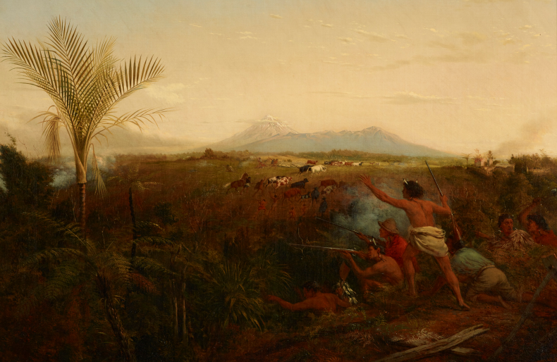 View of Mt Taranaki with Maori driving off settlers cattle - oil painting