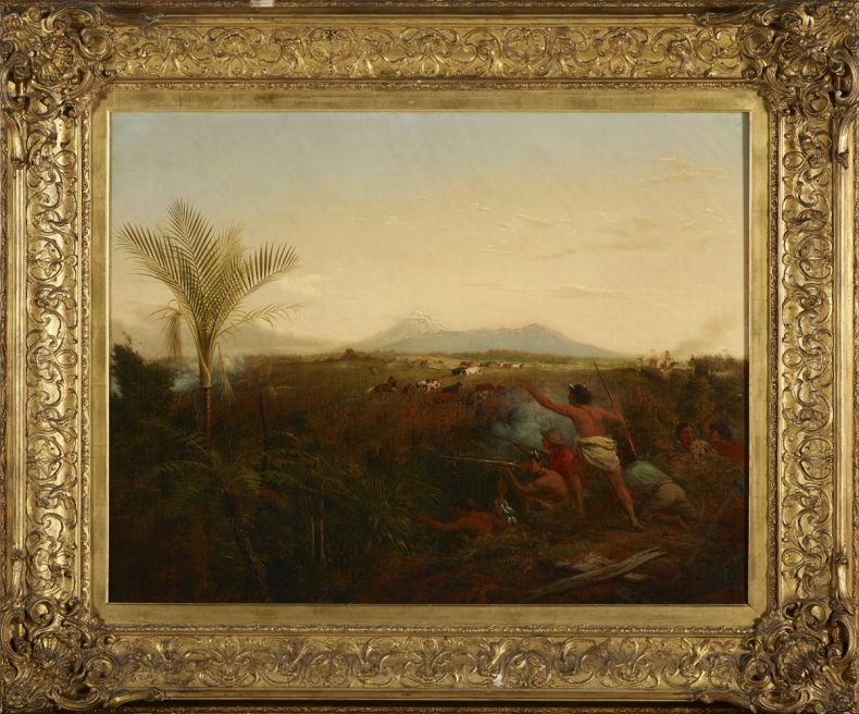 View of Mt Taranaki with Maori driving off settlers cattle - oil painting with elaborate gold frame
