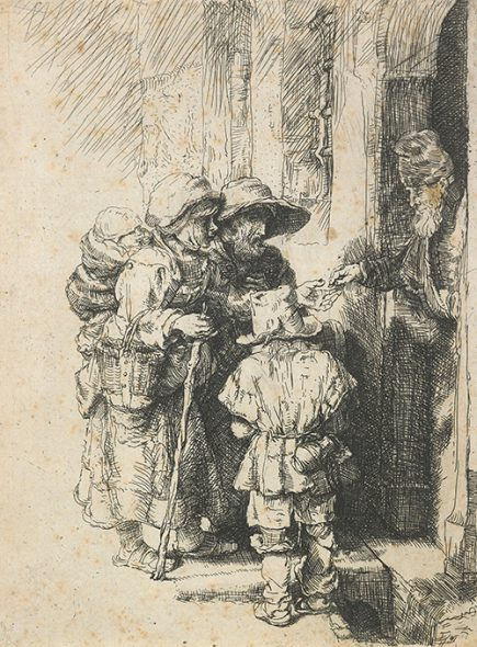 A blind hurdy-gurdy player and family receiving alms (reverse copy, later state), n.d., by an unknown artist after Rembrandt, etching and drypoint. Gift of Bishop Monrad, 1869. Te Papa (1869-0001-425).
