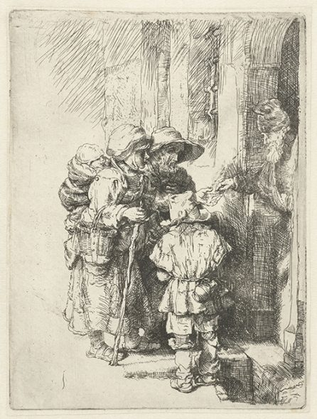 A blind hurdy-gurdy player and family receiving alms (reverse copy, first state), n.d., by an unknown artist after Rembrandt, etching and drypoint. Rijksmuseum, Amsterdam, acquired 1816 (RP-P-OB-12.350).