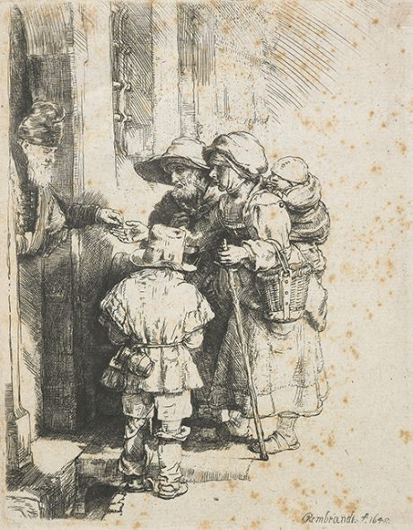 A blind hurdy-gurdy player and family receiving alms (third state), 1648, by Rembrandt van Rijn, etching and drypoint. Gift of Bishop Monrad, 1869. Te Papa (1869-0001-424).