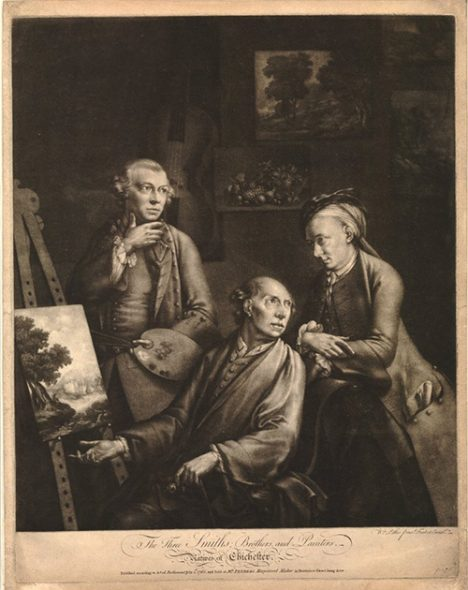 The three Smiths; brothers, and painters, 1765, by William Pether, mezzotint. British Museum, London, bequeathed by William Meriton Eaton, 2nd Baron Cheylesmore, 1902 (1902,1011.3648). From left to right: George, William and John Smith.