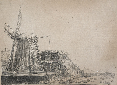 The windmill (copy), n.d., by John Smith of Chichester after Rembrandt, etching (counterproof). Purchased 1910. Te Papa (1910-0001-1/66-80).