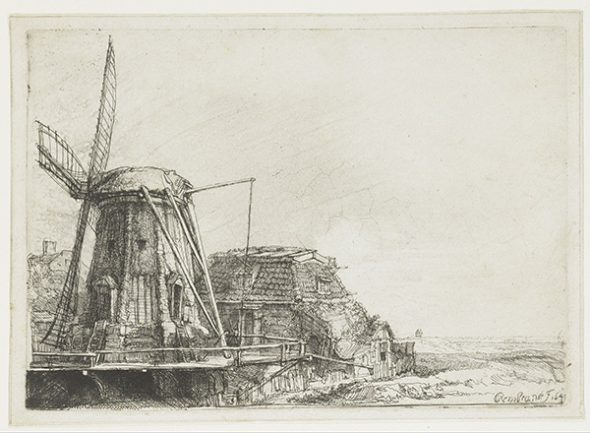 The windmill, 1641, by Rembrandt van Rijn, etching. Rijksmuseum, Amsterdam, acquired 1816 (RP-P-OB-473).