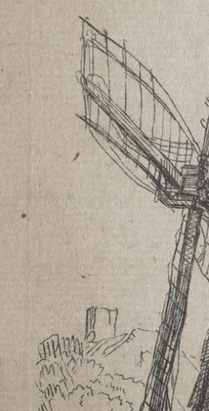 The windmill (copy), by John Smith of Chichester (detail of left edge showing falsified plate mark).