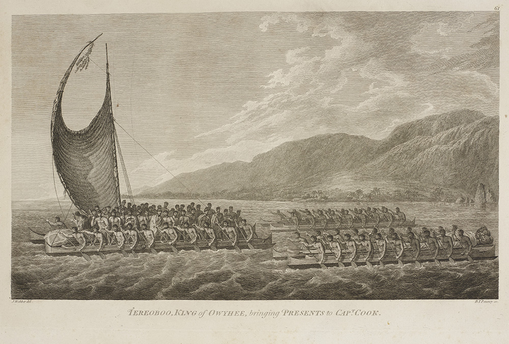 Engraving of a fleet of sailors sailing out to sea