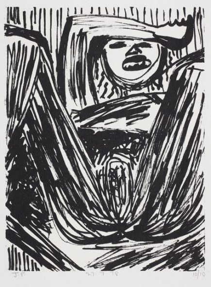 John Foster. Untitled – from the 'Forceps Delivery' series. 1978. Lithograph on paper. Purchased 2015. Te Papa (2015-0026-8).