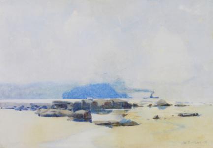 John William Tristram, Untitled (Beach), 1905. Watercolour. Private collection.