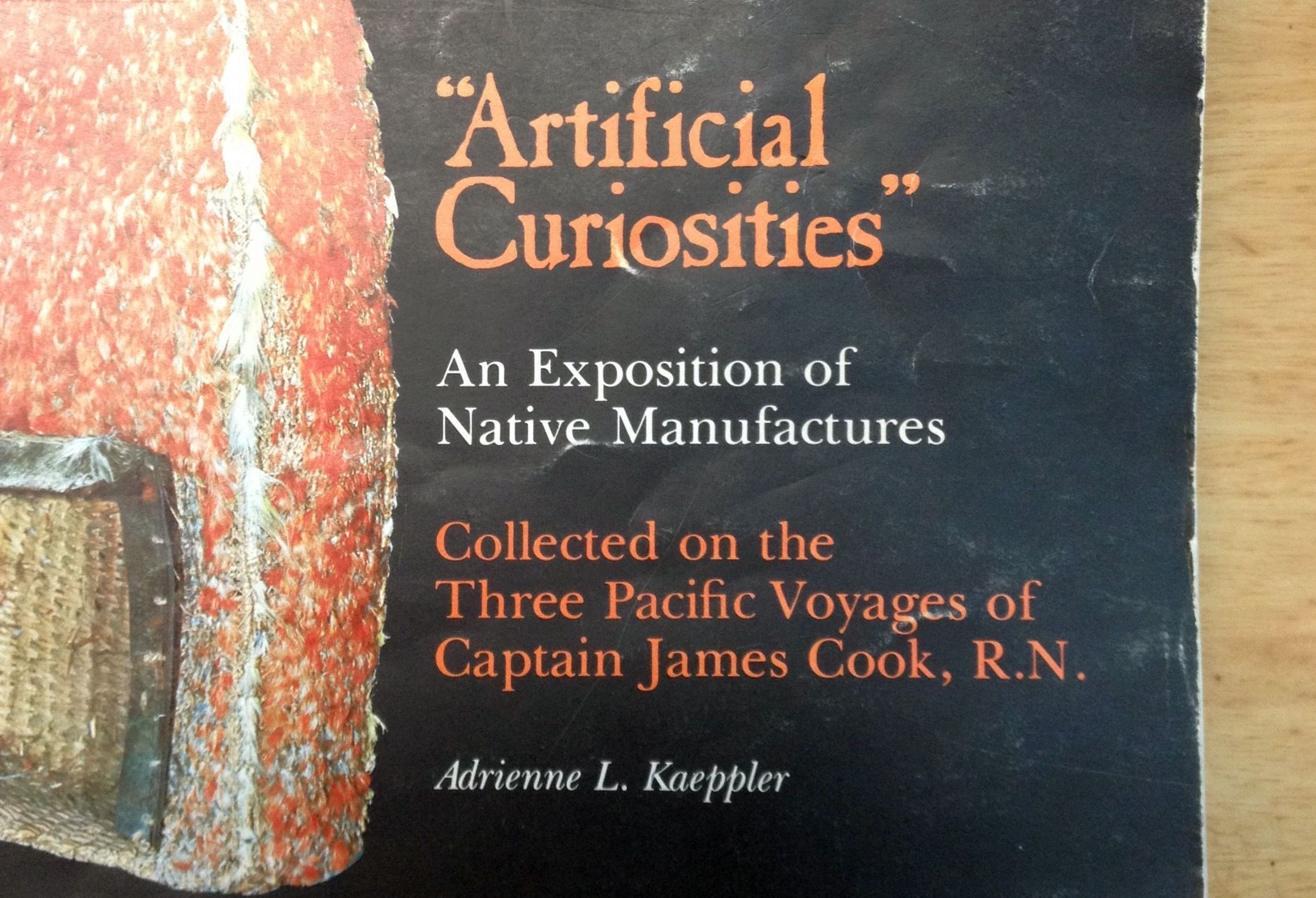 Closeup of a detail of the front cover of a book showing its title