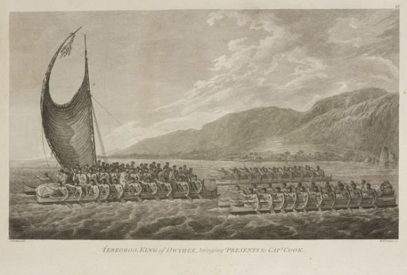[Kalaniopu'u] bringing Presents to Cap.T Cook. Plate 61. From the book: Folio of Plates to Captain Cook's Voyages; 1784; Webber, John; printing paper; printing