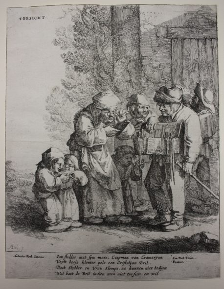 The five senses (sight), 1642-1650, by Jan Both after Andries Both. Etching. Purchased 2015. Te Papa (2015-0056-14). Photo: Anna Rigg.
