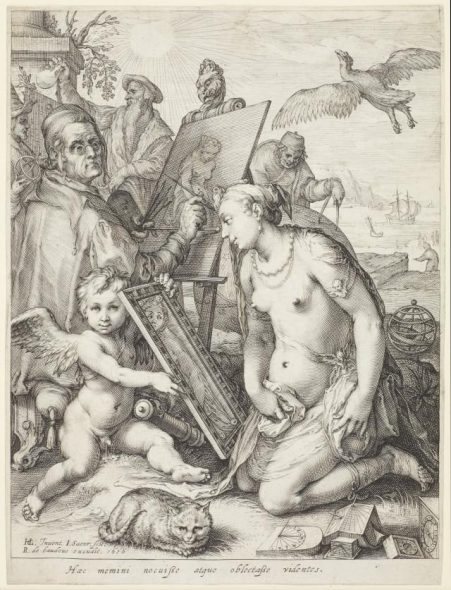 Artist painting a nude woman: allegory of visual perception, engraved c. 1598, published 1616, by Jan Saenredam after Hendrick Goltzius. Engraving. Purchased 2011. Te Papa (2011-0001-1).