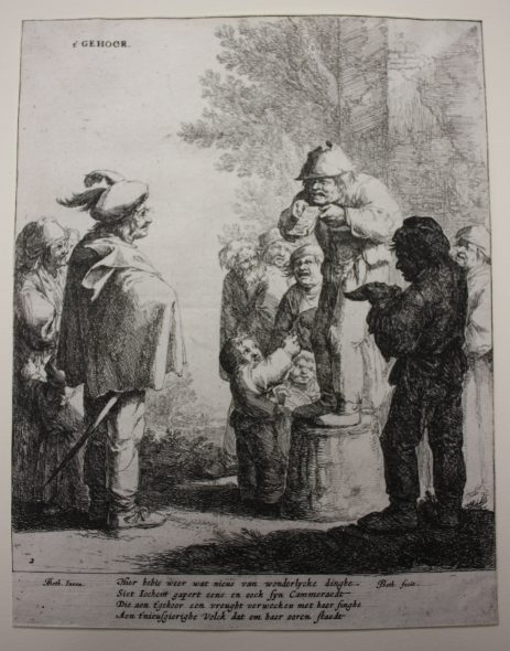 The five senses (sound), 1642-1650, by Jan Both after Andries Both. Etching. Purchased 2015. Te Papa (2015-0056-15). Photo: Anna Rigg.