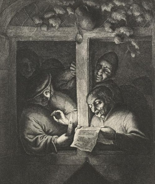 The singers, 1667?, by Adriaen van Ostade. Etching. Gift of Bishop Monrad, 1869. Te Papa (1869-0001-365).