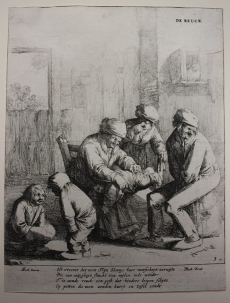The five senses (smell), 1642-1650, by Jan Both after Andries Both. Etching. Purchased 2015. Te Papa (2015-0056-12). Photo: Anna Rigg.