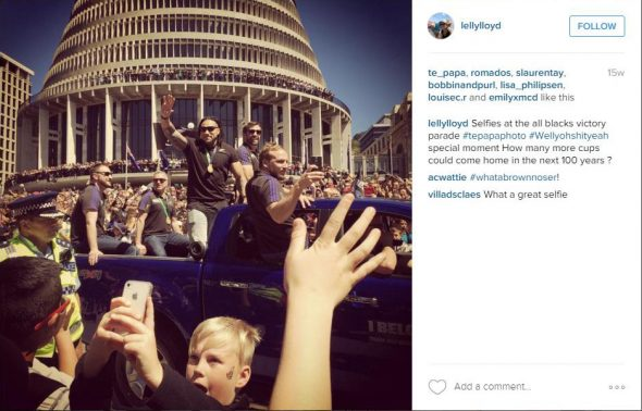 Selfies at the all blacks. Photograph and Instagram post by lellyloyd. All rights reserved