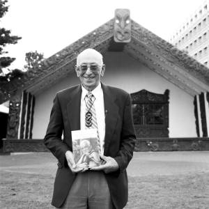 Professor Ranginui Walker, photographed at Waipapa Marae, Auckland University, during the November 6th 2008 launch of his biography 'Tohunga Whakairo: Paki Harrison' in front of Tanenuiarangi, the house Dr Harrison carved 20 years earlier for the University of Auckland. Photographed by Natalie Robertson, 2006. Copyright Natalie Robertson, used with permission. (http://natalierobertson.weebly.com/)