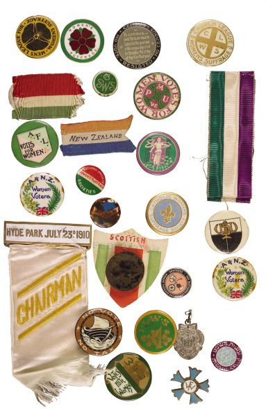 Hocken Collections, Uare Taoka o Hākena, University of Otago. Anna, Lady Stout. Collection of Suffragette Badges, 1909-12. MS-0253. Stout Bequest, 1948.