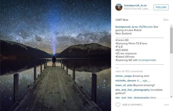 Star gazing at Lake Rotoiti. Photograph and Instagram post by brentpurcell. All rights reserved