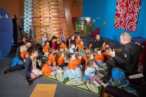 Kōrero pūrākau (storytelling) in Te Huka ā Tai Discovery Centre. Photograph by Kate Whitley. Te Papa