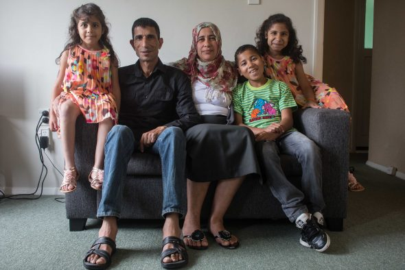 Nazeh Diab and Mirvat Hassan and their three children (left to right: Jinan, Ahmed and Maria) fled Syria in 2012. After spending two and a half years in Thailand, the family was accepted by New Zealand under the refugee quota. Photograph courtesy of New Zealand Red Cross.