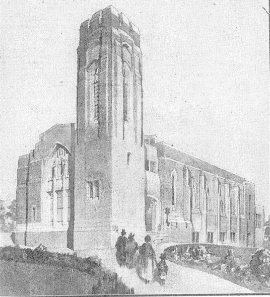 Daniel Boys Patterson's perspective drawing of St David's Church, NZ Herald, 2 December 1925