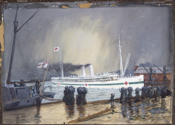 The hospital ship 'Maheno' by Walter Armiger Bowring, 1915. Archives New Zealand AAAC 898 NCWA Q431