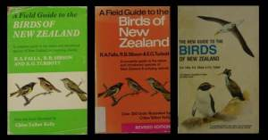 The three versions of the Falla, Sibson, turbot field guide, published between 1966 and 1990. Image: Colin Miskelly, Te Papa