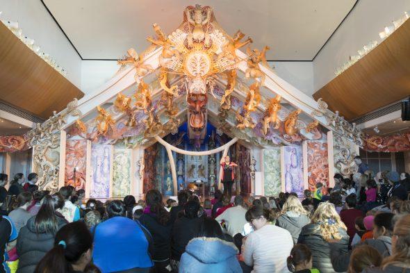 Tīrama, tīrama tamariki mā performance taking place at Te Papa. Photograph by Kate Whitley. Te Papa