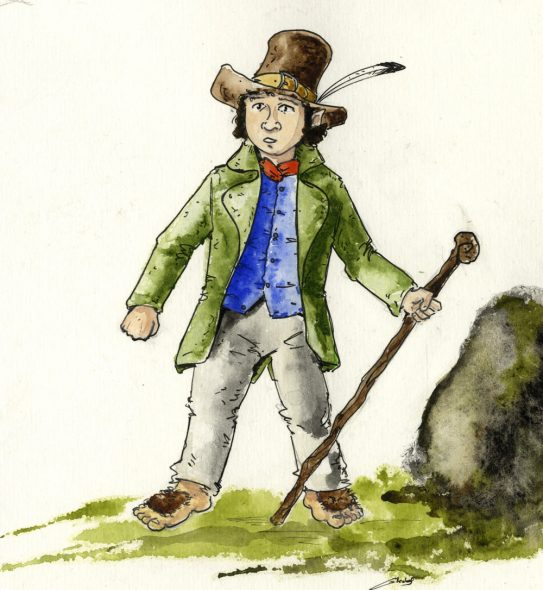 A hobbit (note hairy feet). By Antoine Glédel (Own work) [CC BY-SA 3.0 (http://creativecommons.org/licenses/by-sa/3.0)], via Wikimedia Commons (https://commons.wikimedia.org/wiki/File%3AUn_hobbit.jpg).