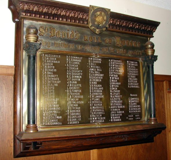 St Davids Church Roll of Honour memorial from Ministry for Culture and Heritage's online memorial register