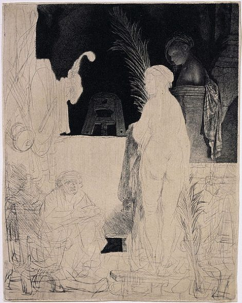 The artist drawing from the model, etching, drypoint and engraving