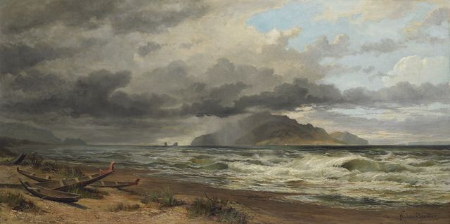 Nicholas Chevalier, Cook Strait, New Zealand, 1884, oil on canvas. Purchased 2003 (2003-0034-1)