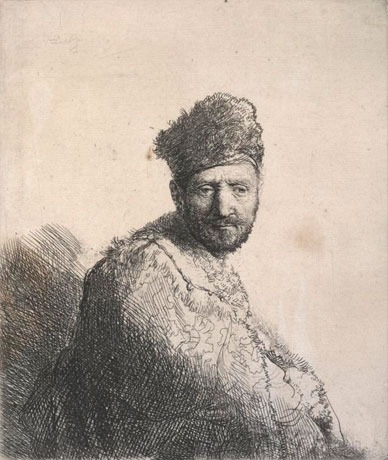 Bearded man, in a furred oriental cap and robe, ink, paper