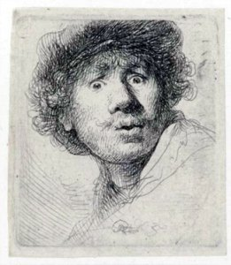Self-portrait in a cap, wide-eyed and open-mouthed, 1630, by Rembrandt van Rijn, etching and drypoint. Rijksmuseum, Amsterdam (RP-P-OB-697).