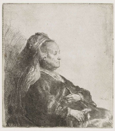 The artist's mother seated, etching