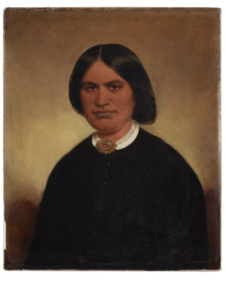 attributed to William Beetham, Ruth [Ruta], wife of Tamihana Te Rauparaha about 1860, oil on cardboard. On loan from the Hemi Wārahi (J H Wallace) whānau (1992-0035-1638)
