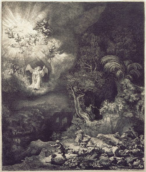 The angel appearing to the shepherds, etching