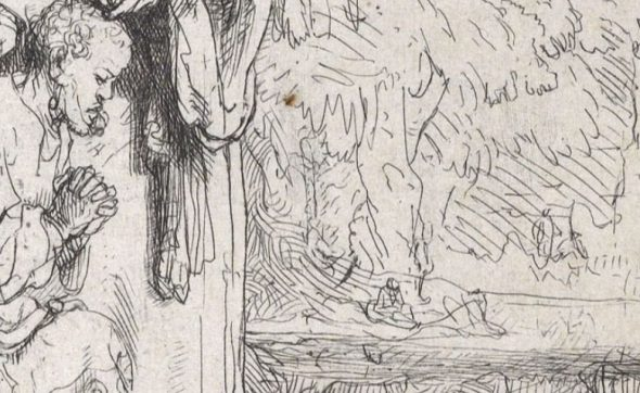 Detail from The baptism of the eunuch, ink, paper