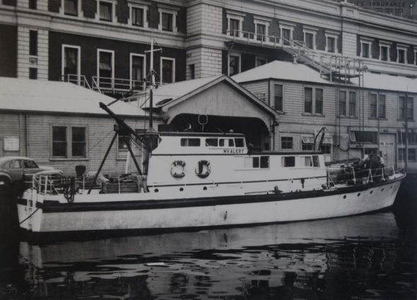 M.V. Alert alongside Queens Wharf, Wellington Harbour, January 1957. Image: John Yaldwyn