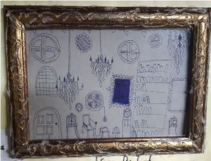 A sketch (biro on cardboard) by Isaac in a faux rococo frame (hot glue on plastic).