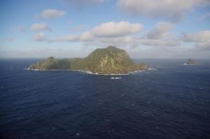 Hautere/Solander Island from the north-east, with Little Solander Island to the right. Image: Colin Miskelly, Te Papa