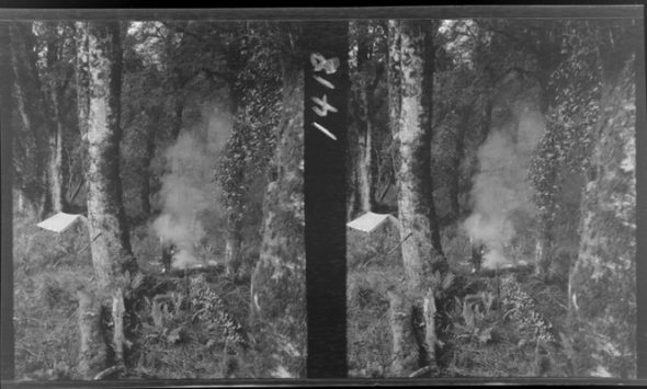 Stereograph of a camp site in bush area, with unidentified man standing next to camp fire, West Coast region. Photographed by Edgar Richard Williams. Ref: 1/2-144082-F. Alexander Turnbull Library, Wellington.