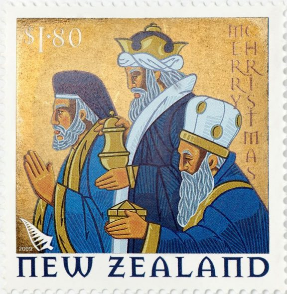 $1.80 'Three Wise Men' Christmas stamp, 2009, Wellington, by Stephen Fuller, Southern Colour Print. The New Zealand Post Museum Collection, Gift of New Zealand Post Ltd., 1992. Te Papa PH001431