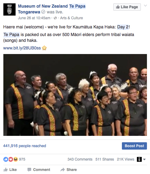 Screenshot of the Kaumātua kapa haka event in Facebook