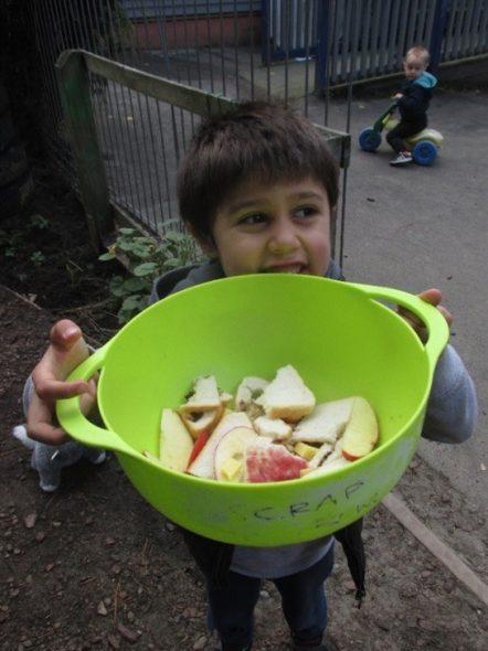 Our scrap bucket. Photograph by Kiwi Kids, © Kiwi Kids