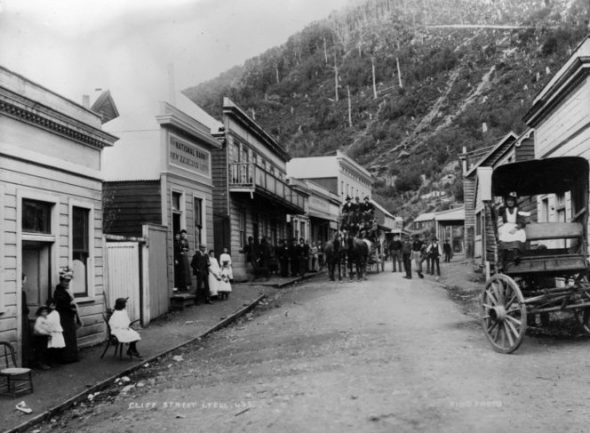 Black and white photograph of West Coast mining town Lyell