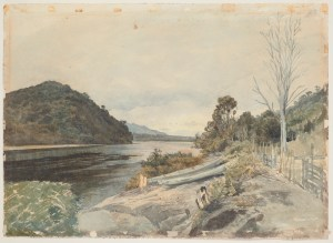 Watercolour landscape of Greymouth harbour from the 'old pa'