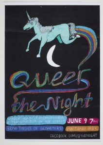 Poster titled 'Queer the Night' featuring a unicorn leaping across the moon, trailing a rainbow.